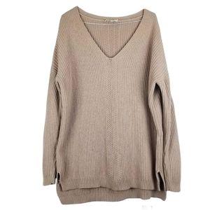 Babaton Oversized 100% Cotton V-Neck Knit Sweater